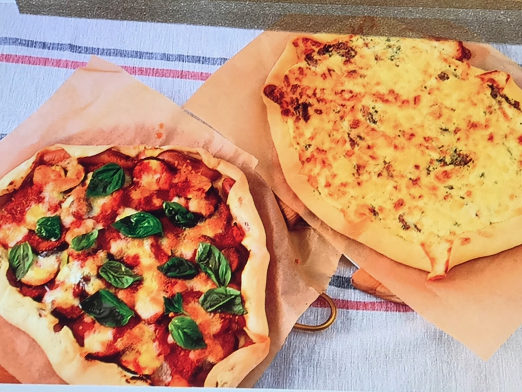 【ナスとズッキーニのトマトソースピザ】【 豚ヒレ肉のクリームソースピザ 】