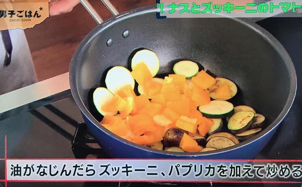 ズッキーニ、黄パプリカ、にんにくを加えて炒める