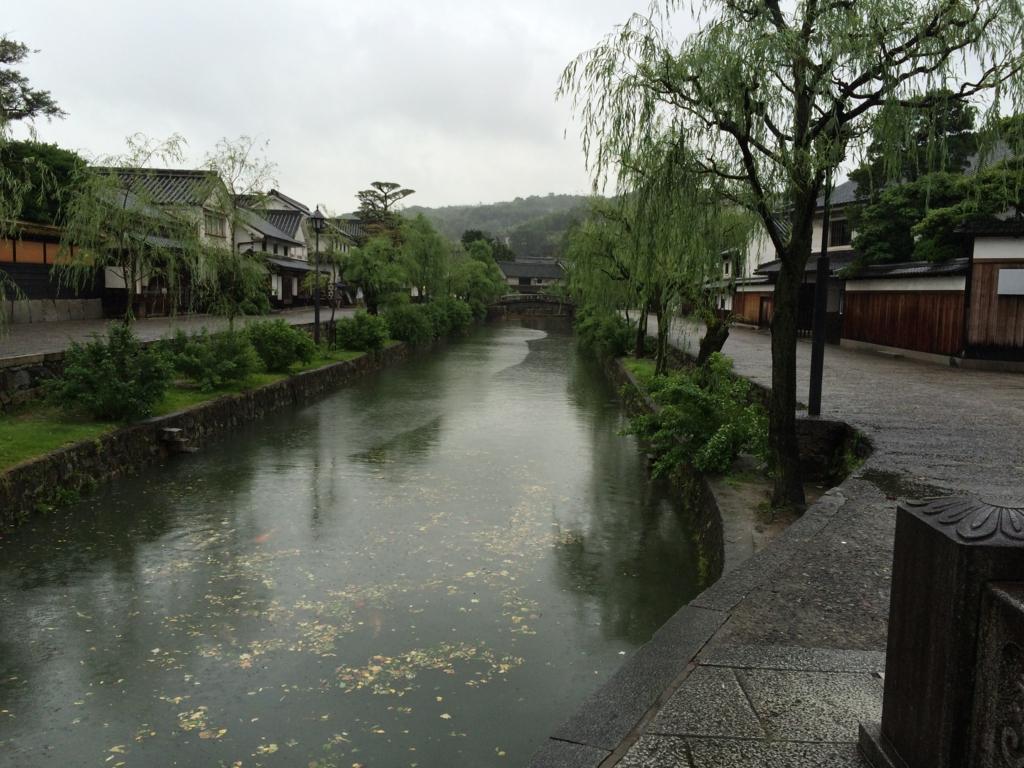 岡山・美観地区の川沿いの景色