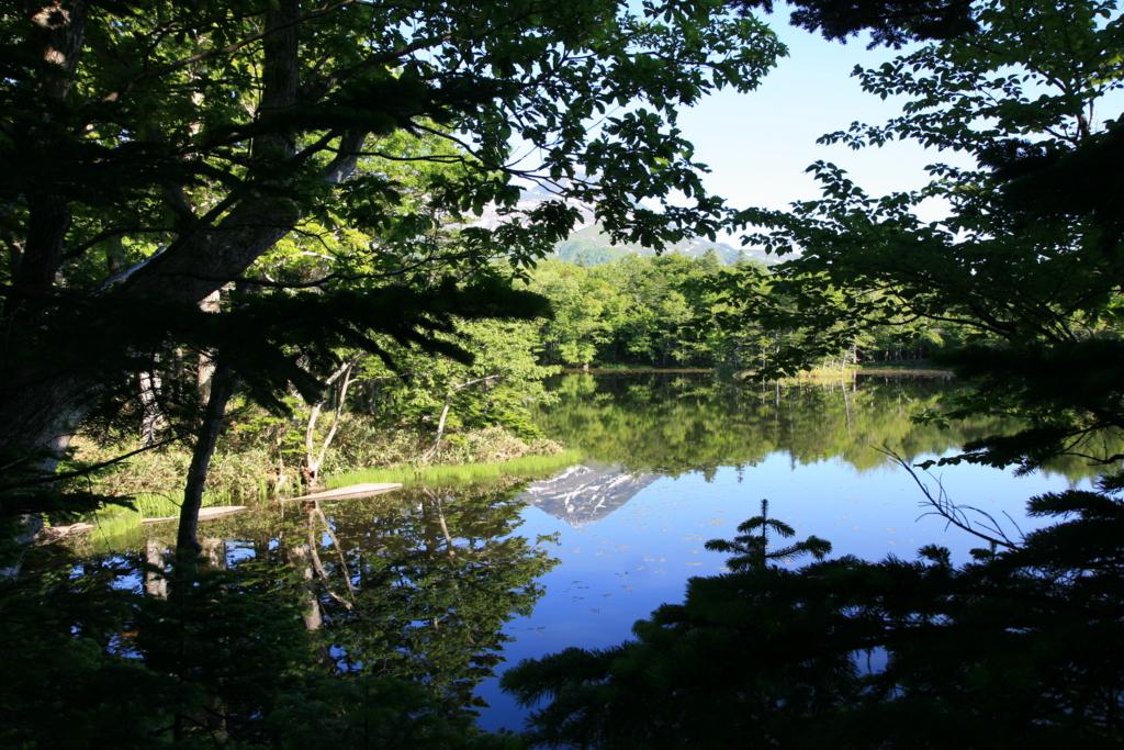 北海道・知床五湖の三湖に写る知床連山
