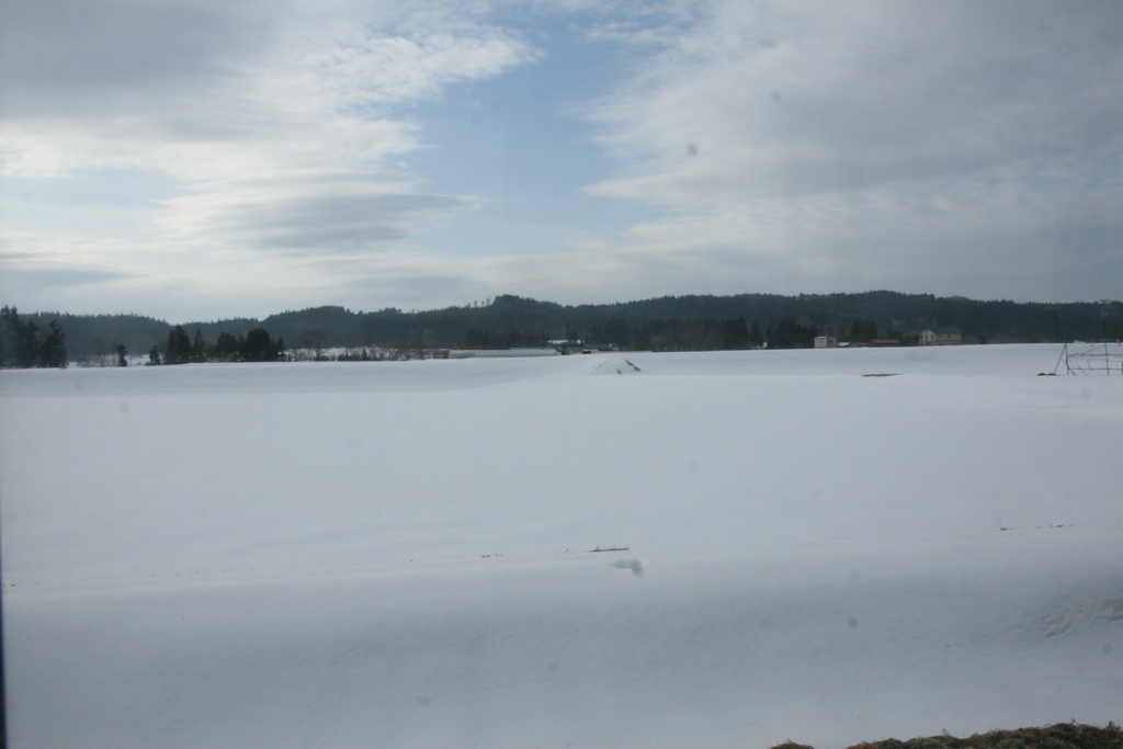青森・十和田湖行きのバスから見る雪景色