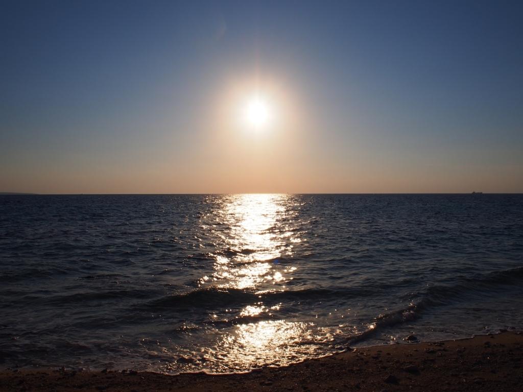 イキヅービーチの夕日