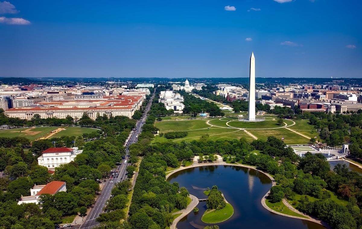 ワシントンDCナショナルモールの空撮写真