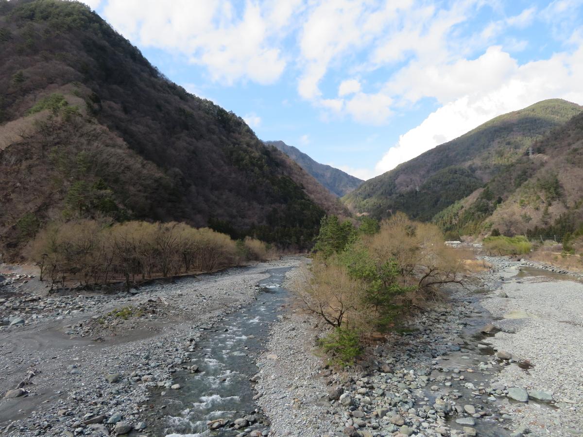 山の間に流れる川