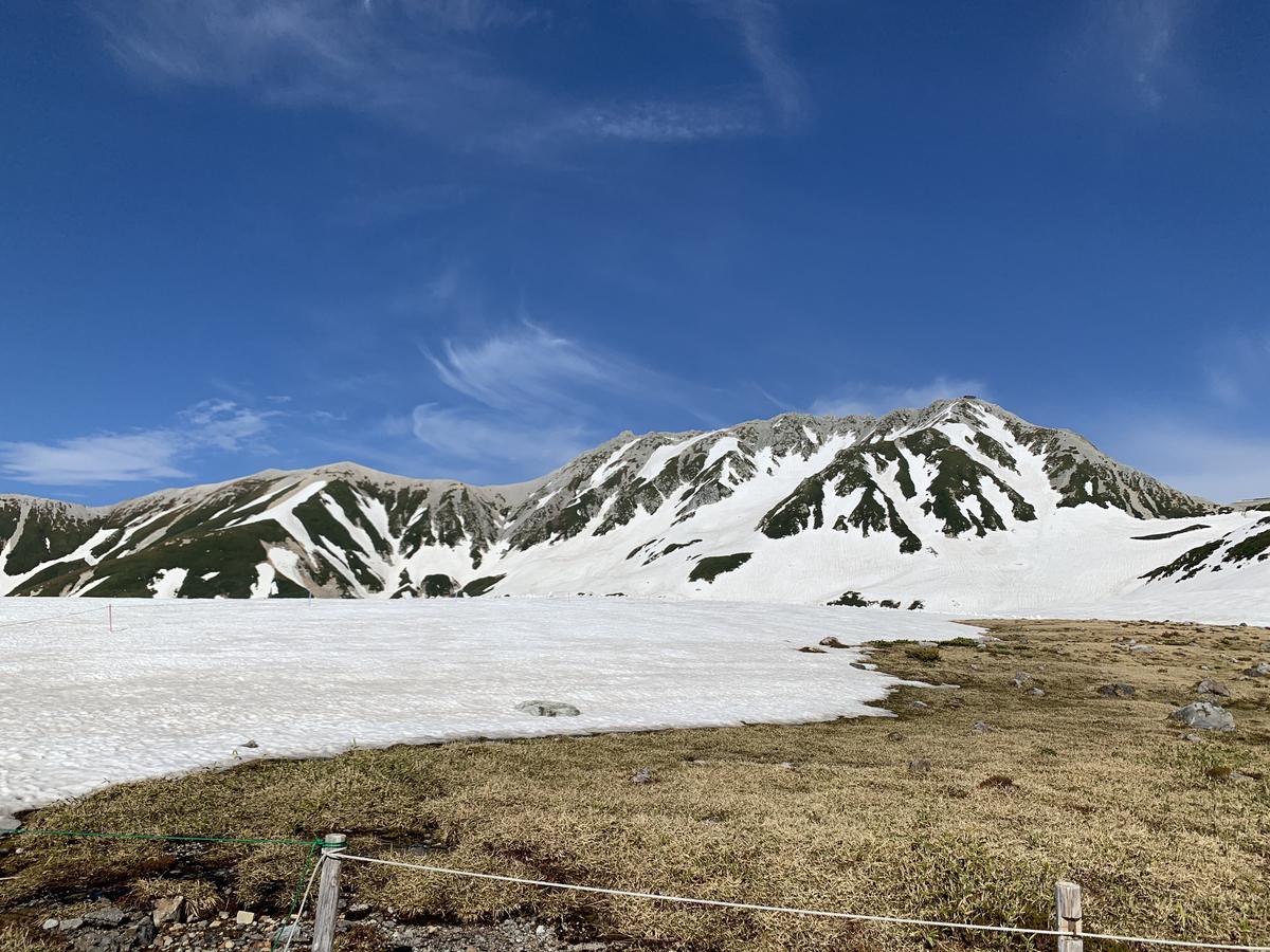 雪が残る山
