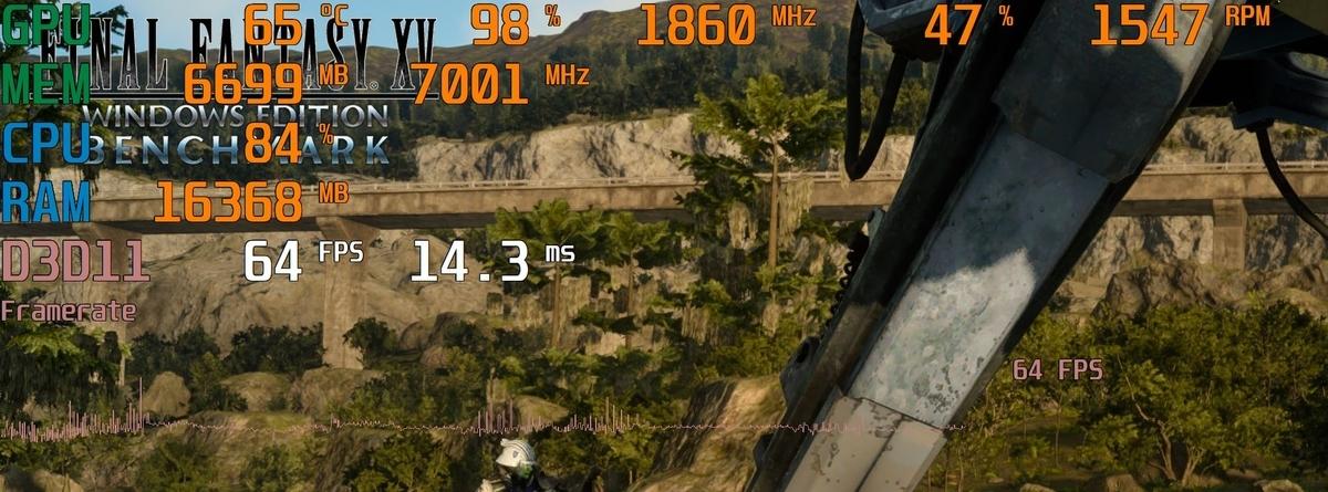 WQHD画質でも、一時のFPS低下をある程度許容すればプレイできる。