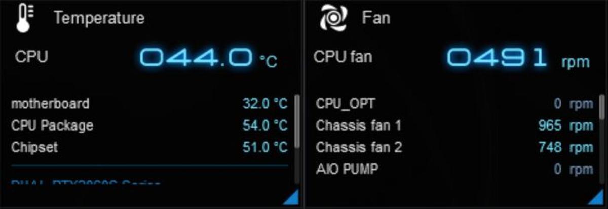 CPUの発熱は、それほどでもないらしい。