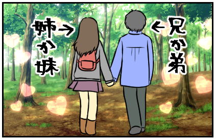 手をつないで歩いているカップル。兄か弟・姉か妹の設定