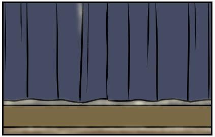 カーテンから光がこぼれている。