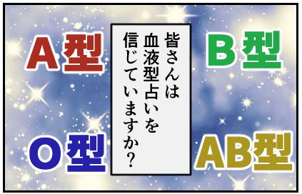皆さんは血液型占いを信じていますか?A型・B型・O型・AB型