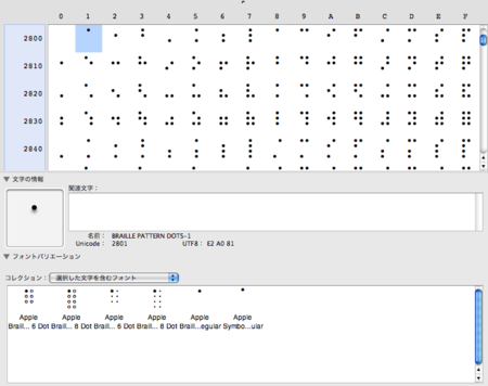 Mac OS X (Leopard) の点字フォント