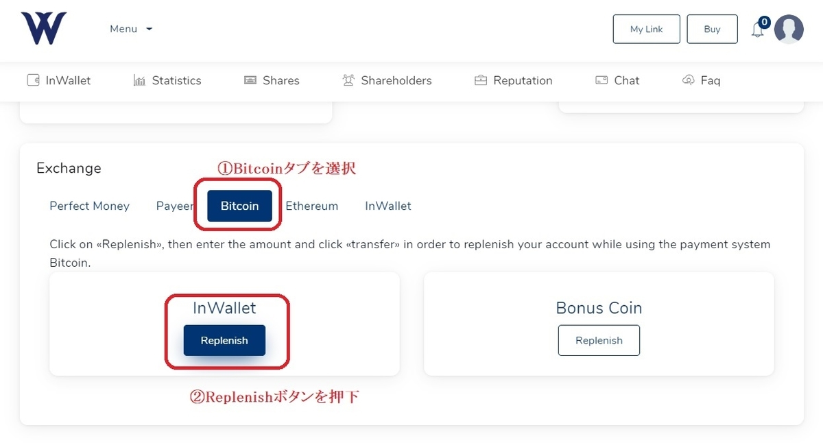 Watford LLC -入金申請ダッシュボードBTC-
