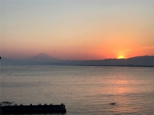 江の島をからの夕日と富士山