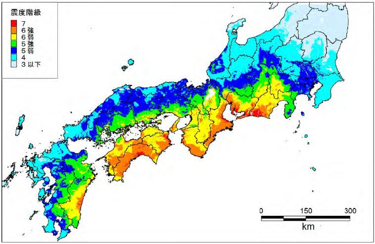 南海トラフ地震による揺れ