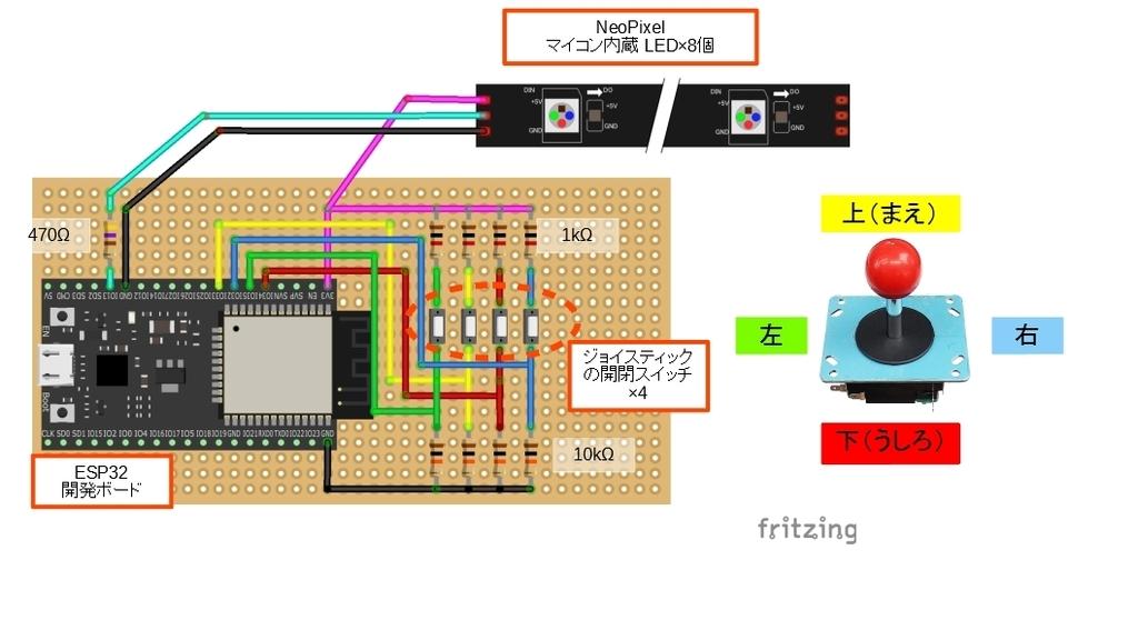ESP32+LED(NeoPixel)で、リハビリ支援用光るジョイスティックを作って