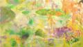 [inside of a girl][パネル][綿布][油彩][アクリル][インク][水彩色鉛筆][180cm×100cm] 緑の浴室 -inside of a girl-