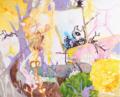 [キャンバス][アクリル][水彩色鉛筆][F25号くらい] 鏡の向こう
