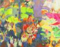 [綿布][アクリル][水彩色鉛筆][パステル][F150号] 緑の浴室 -おばけうさぎremix-