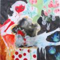 [キャンバス][アクリル][水彩色鉛筆][ニス][100cm四方] うさぎの生る木