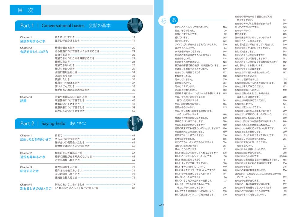 状況別に章が並ぶ本書の目次(左)と、50音順に表現が並ぶインデックス。