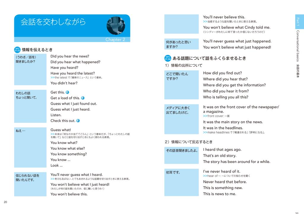 「情報を伝えるとき」では、5つの「言いたいこと」と24の英語表現を紹介。