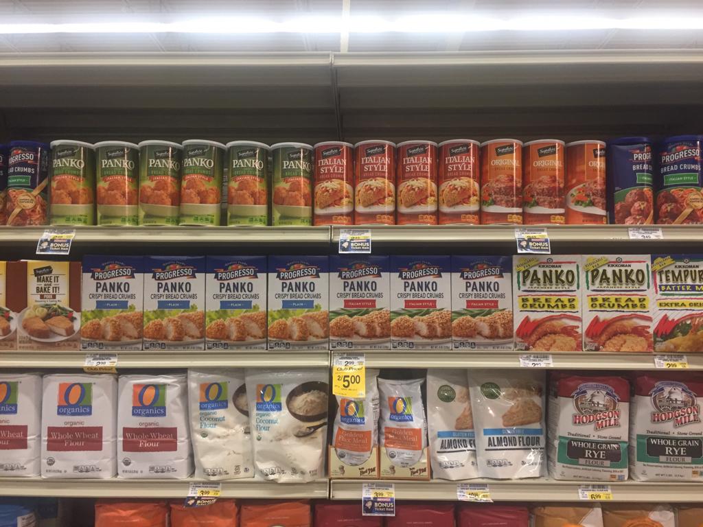 アメリカの伝統的なパン粉と並び、充実した品揃えのpanko