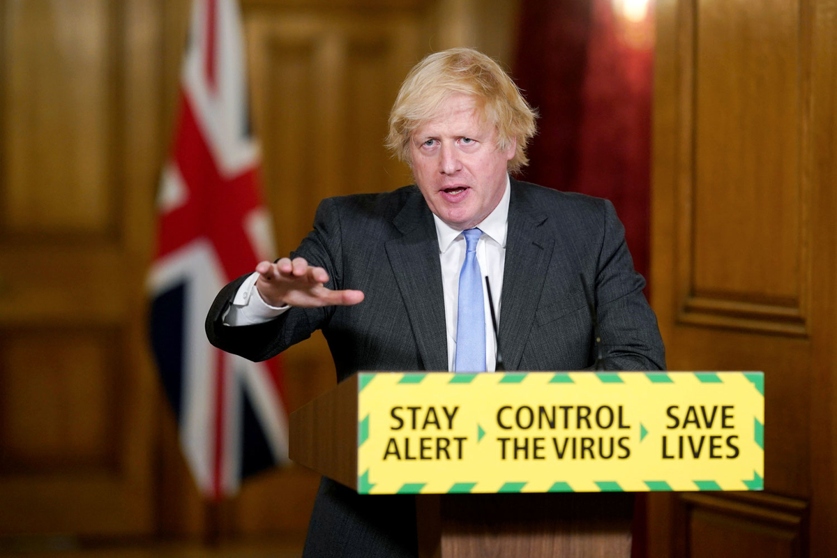 Britain's Prime Minister Boris Johnson speaks during a daily briefing to update on the coronavirus disease (COVID-19) outbreak, at 10 Downing Street in London, Britain, June 23, 2020. Andrew Parsons/10 Downing Street/Handout via REUTERS