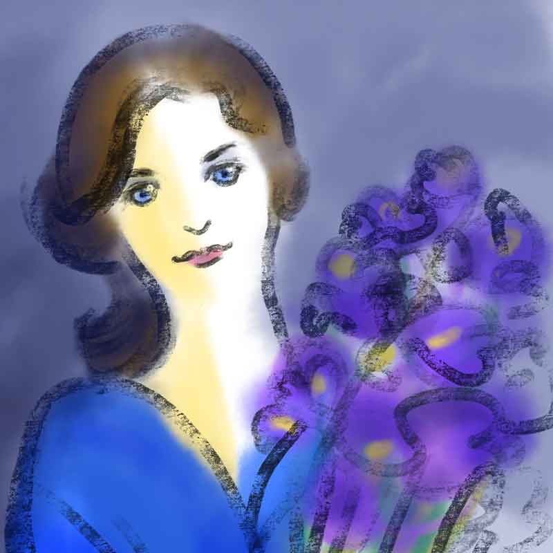 青いドレスと紫のアイリス