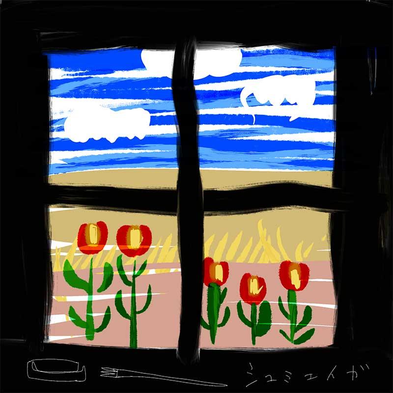 黒い窓枠と窓の外の風景