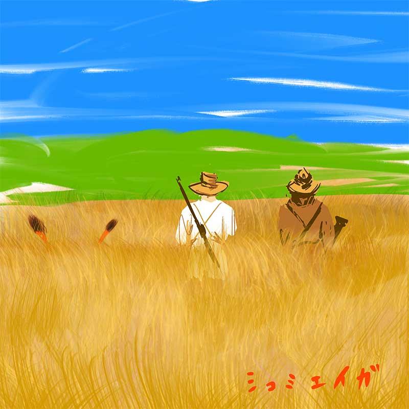 草原の中の2人のハンターとライオンの尻尾