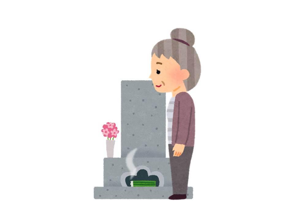 お墓参りをするイラスト画像