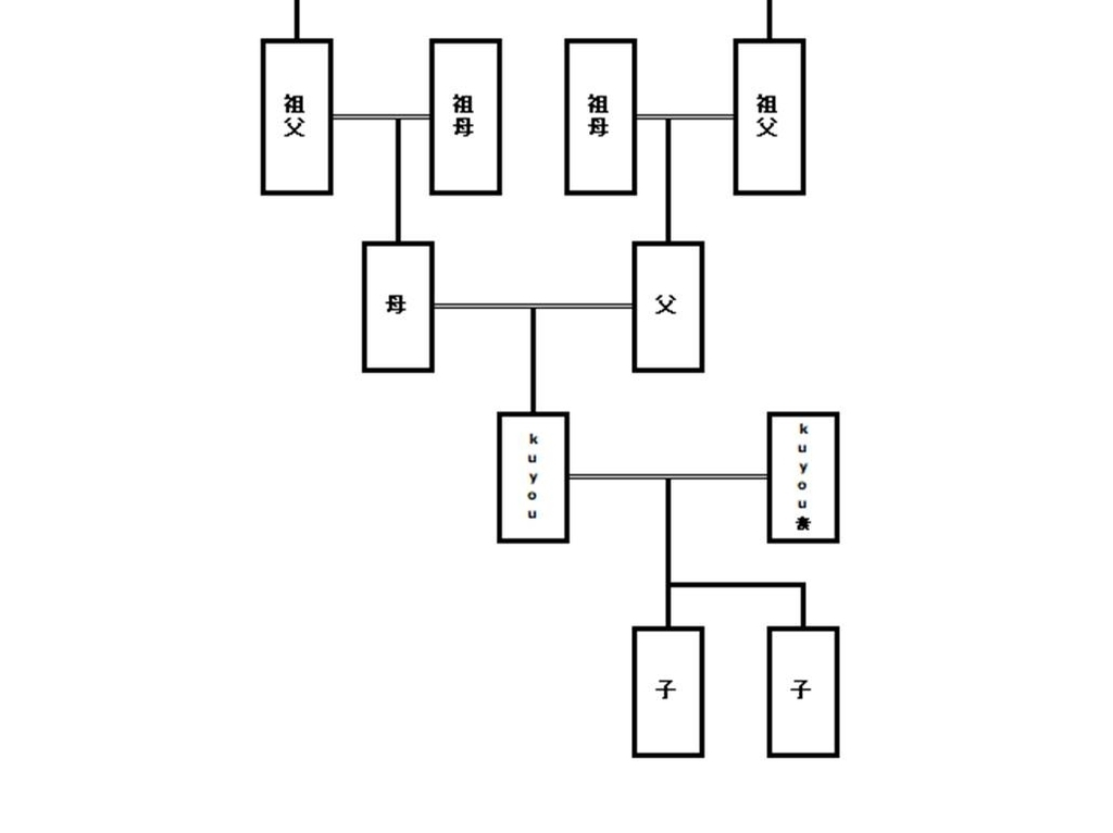 ダウンロードしたエクエル家系図の写真