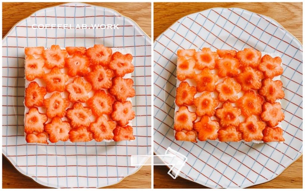 お花いちごと水きりヨーグルトのフルーツサンド