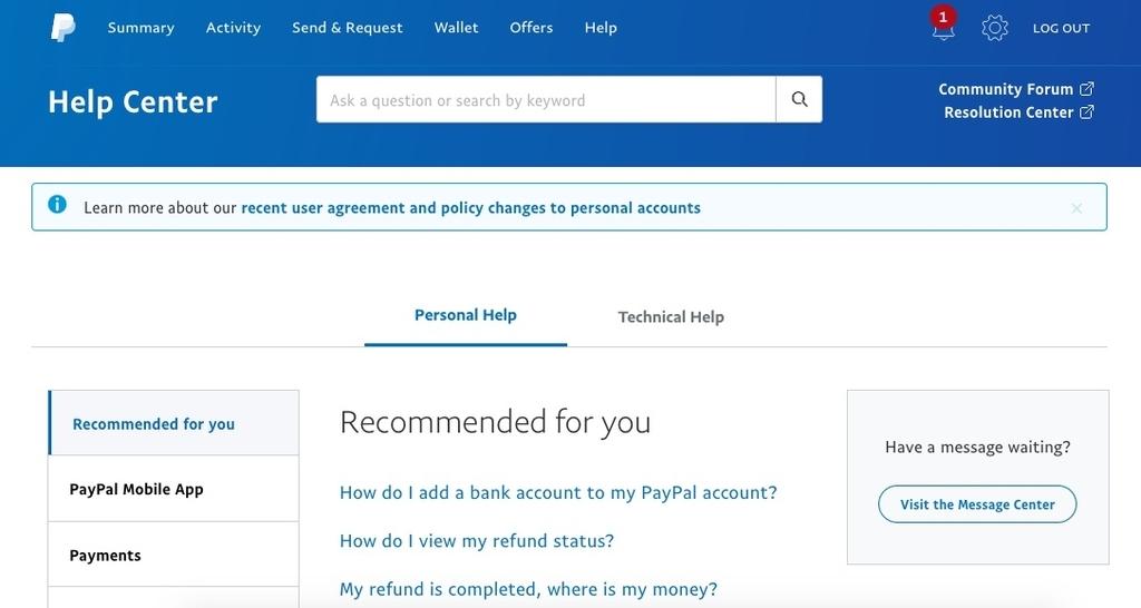 PayPalのヘルプセンター画面