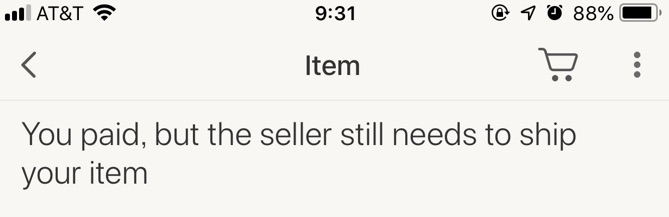 ebayの支払い完了を示す画面