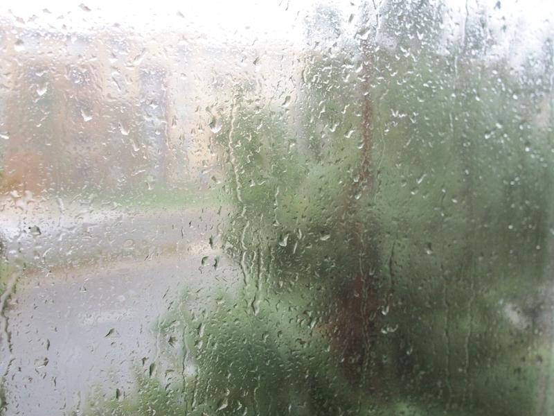 雨粒がたくさん付いた窓
