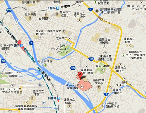盛岡市鉈屋町の地図