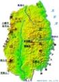 岩手県の地形図