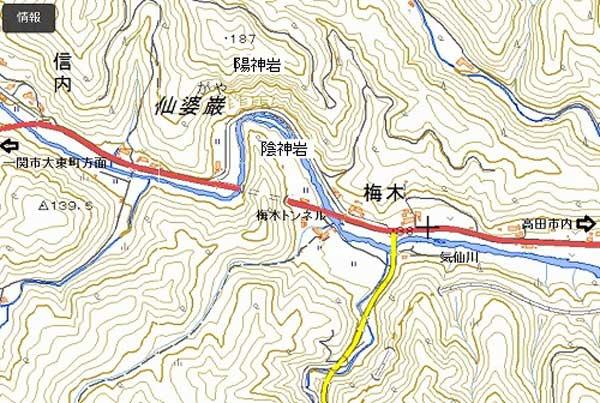 仙婆巌(せんばがや)付近の地図