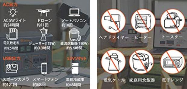 Jackeryポータブル電源使える機器使えない機器