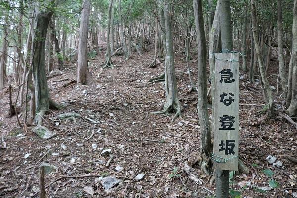 関市権現山頂上付近の急な登坂