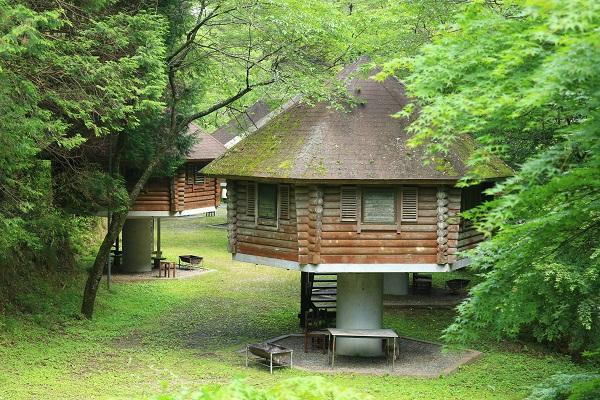八滝ウッディランドきのこ型のログハウス