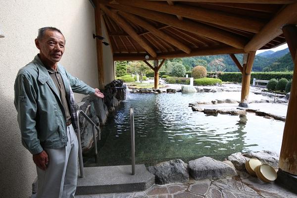 長谷部豊さんと上之保温泉ほほえみの湯露天風呂