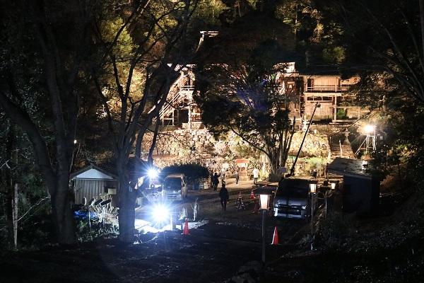 日龍峯寺ゆく年くる年の撮影風景