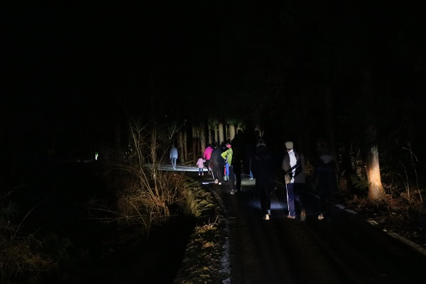 まだ暗い林道を歩く参加者