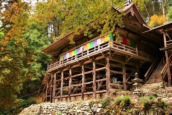 日龍峯寺本堂と紅葉