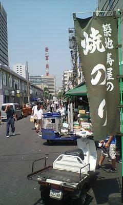 8月4日に行った築地市場。暑かった。