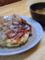 昼食にお好み焼きと生姜汁