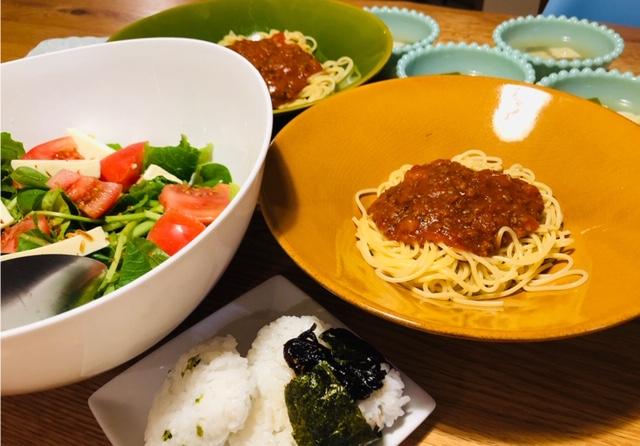 ミートスパゲティ サラダ 夕食
