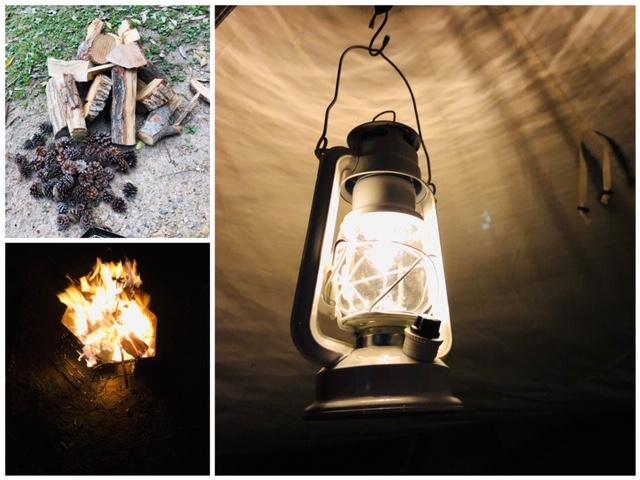 焚き火 ランタン キャンプ